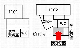 A map: Itakura campus  A doctor's office  The 1st floor of 1 Building No..